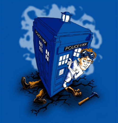 "theblueboxboy:  Cool Doctor Who / Dr. Horrible mashup titled ""Dr Whorrible's Revenge"" by Billy Allison, available from shirtoid.  It looks like Dr. Horrible landed the TARDIS on Captain Hammer."