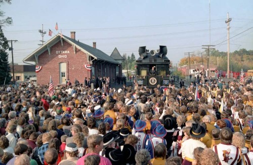 Ohio Whistle Stop, 1984 President Ronald Reagan makes remarks in Ottawa, Ohio during his whistle stop tour through Ohio on the Ferdinand Magellan. 10/12/84. -from the Ronald Reagan Library
