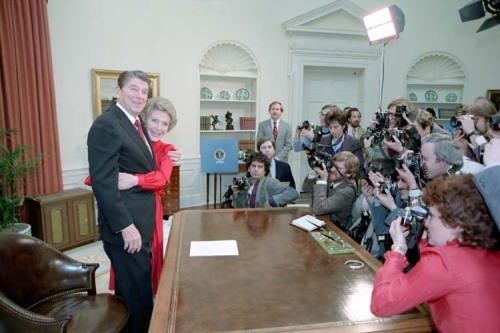 Ronald Reagan Announces he Will Run for Re-Election …hugs follow.  Nancy and President Reagan after an address to the nation announcing the Reagan-Bush candidacies for re-election. 1/29/84.