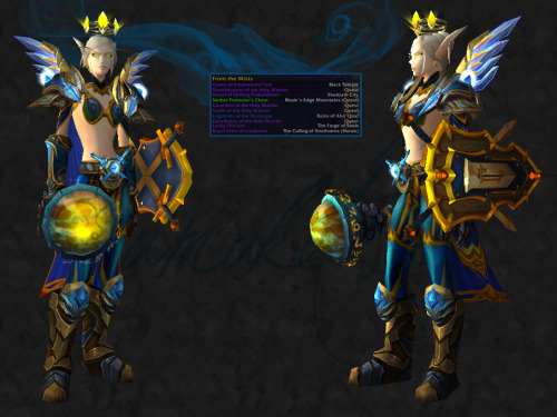 wowfashionpolice:  Transmog Challenge 8: Entry 2  For Transmog Challenge: Shoulderplate of the Holy Warrior