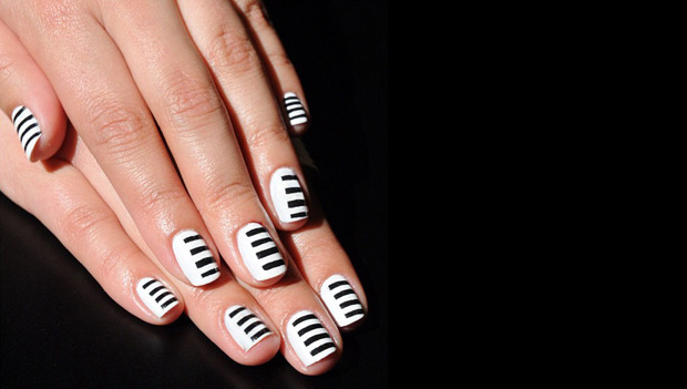 Sephora-obsessed nails: showing off our stripes.  	SHOP SEPHORA NAILS ▸