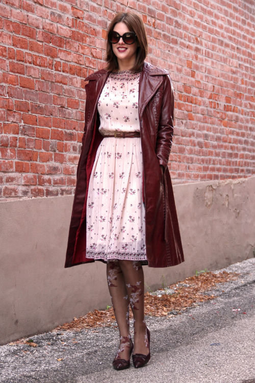 Jessica of What I Wore in a vintage burgundy trench, we love her 70's style!