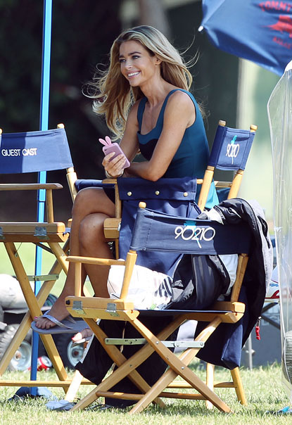 Denise Richards joins the cast of 90210 as they film yet another fun day of their hit show in Los Angeles on September 26.