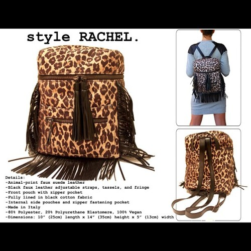 """#wywv style RACHEL details - animal-print #fauxsuede leather - black #fauxleather adjustable straps, tassels, and fringe - front pouch with zipper pocket - fully lined in black cotton fabric - internal side pouches and zipper fastening pocket - #madeinitaly - 80% polyester, 20% polyurethane elastomere, 100% #vegan💚 - dimensions: 10""""(25cm) length x 14""""(35cm) height x 5""""(13cm) width (Taken with Instagram)"""