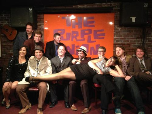 Purple Onion's Last Night. [Top Row: Bob Rubin, Will Franken, Jim Short. Bottom Row: Marga Gomez, Rob F. Martinez, Sean Keane, Chris Garcia, Alex Koll, Kevin O'Shea, Dan Dion. Lying: Caitlin Gill]