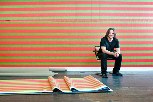 """Painting, Rebooted"": The New York Times on Wade Guyton, whose midcareer retrospective opens at the Whitney October 4. Photograph by Karsten Moran for The New York Times"