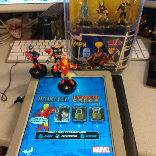 Checking out the #Heroclix #TabApp. The iPad recognizes the figures. Very cool. App is free, the toys are in stores now. #Marvel #tech #gaming  (Taken with Instagram)