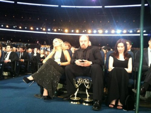 Louis CK Emmys Start to Become an Inconvenience. He's just texting a tow truck guy now, just one second.