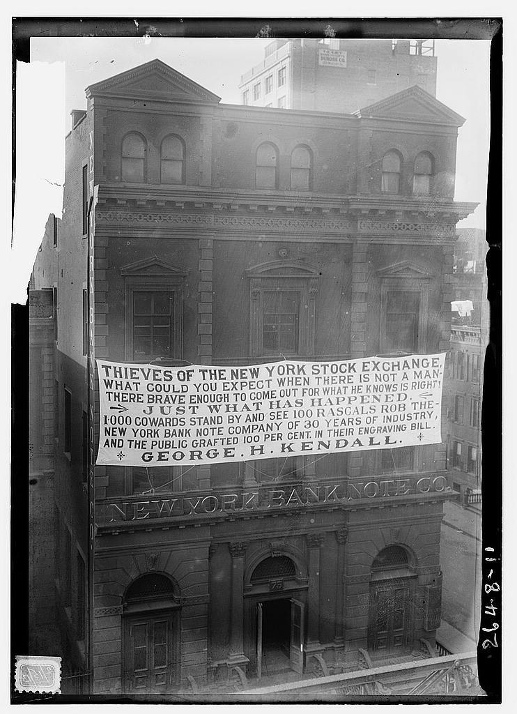Anger towards Wall Street, circa 1913 Photo via Library of Congress / Bain News Service,