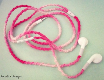 brandiisboutique:  Easy & Fun Headphone Wrap Tutorial: -tired of your headphones always getting tangled up? well with this super easy tutorial, you will learn how to wrap your headphones & they will never get tangled up again, plus they will look amazing after you finish!! read the steps below: To start, just tie a normal knot at the base of the headphones (where you plug it in at) also this does use a lot of string so you will need about 3 skeins of string! Now your going to start your warp, all you do is take the string & cross it over the headphone cord, then pull the string through the loop you made when you crossed it over!! (the way i say it in my head is make a 4, cause it will look like a 4 when you cross it over, then pull it through) Continue until you run out of string, which you will, to start with another string, just repeat steps 1 & 2! Follow the same steps when you go to where the headphones spit! Continue until you wrap both earphone cord & your all done!! Now you have adorable headphones & they will never tangle up!!! -confused & need help?! just contact me & i'll be glad to help you out! :D