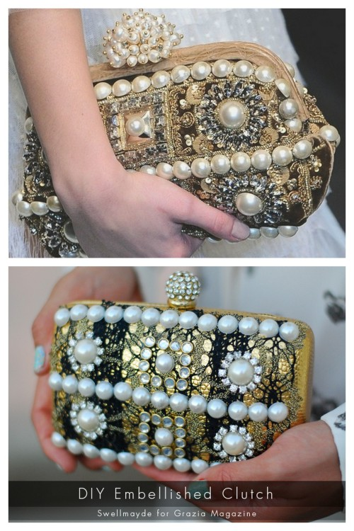 "DIY Dolce & Gabbana Inspired Embellished Clutch Tutorial from Swellmayde here. Really clear and easy to do tutorial. Top Photo: Dolce & Gabbana Embellished clutch here, Bottom Photo: DIY by Swellmayde. For other knockoff or ""inspired by"" tutorials go here:  truebluemeandyou.tumblr.com/tagged/knockoff"