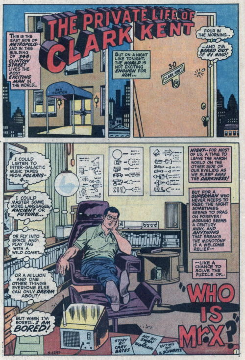 Curt Swan draws Clark Kent's swanky home office!  Love the cityscape with the embedded panels on the top of the page setting up that we're visiting Clark's pad.  Love Clarkie's body langauge and facial expression, which imply boredom without petulance.  And the 70s modern furniture is so chic! From Superman 258.
