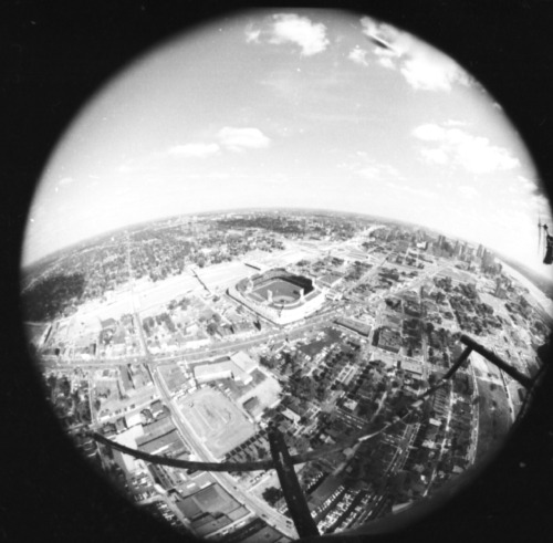 Tiger Stadium fisheye aerial view, circa 1960s. On this day in 1999, the final game at Tiger Stadium was played.