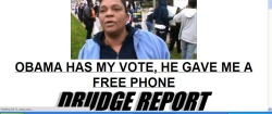 "abaldwin360:  inothernews:  ""Hi. I'm Matt Drudge. I'm not a racist, I swear! I just like to not-so-subtly perpetuate racial stereotypes. Also, can you believe all these freeloading minorities voting for Obama?  Typical.  Not that I'm trying to portray that with my cleverly-juxtaposed framegrab and headline.  Again, I'm not a racist!  Promise.  Kthxbai!""  This ""Obama Phone"" things has been all over the internet today. Just to clear things up a bit, this program was originally started under Reagan for land-line phones as telephone service is considered a basic necessity. The program for cell phones started in Tennessee in August of 2008 and in Florida in September of 2008 (before Obama was elected). Here's the snopes page on the subject."