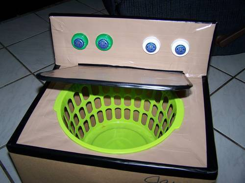 DIY Cardboard Box to Washing Machine from crafty-in-tally at Craftster here. First seen at Dollar Store Crafts here.