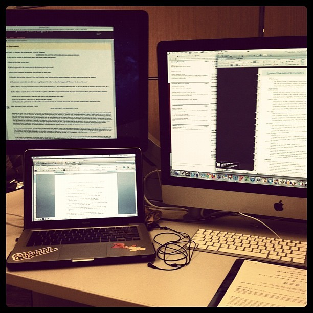 Only at #northeastern would I be able to use two computer monitors along with a free MacBook charger. Yep. #tuition money.  (Taken with Instagram at Snell Library)