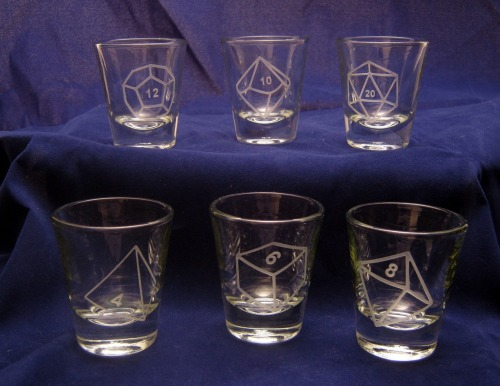 thedrunkenmoogle:  Polyhedral Dice Shot Glass Setby DancesWithMonsters - $48  And thus will the dungeon crawl would be made all the more arduous.