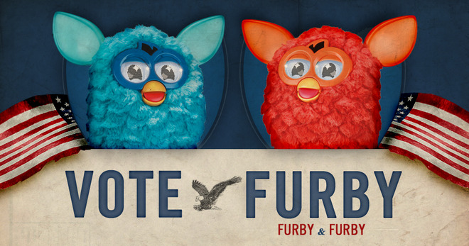 "ameliabutter:  furby:  In a Furby first, Furby chooses Furby as 2012 running mate.  Election frontrunner, Furby, pulled a ""September Surprise"" on Thursday, naming Furby as his official running mate a week after the Furby National Convention. The Furby/Furby ticket is expected to become a political powerhouse by November.  WHO I AM REALLY VOTING FOR  :') America! America! God shed his grace on thee!"