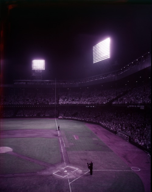 Night time view of the diamond at Tiger Stadium (then Briggs Stadium), circa 1950s. On this day in 1999, the final game at Tiger Stadium was played.