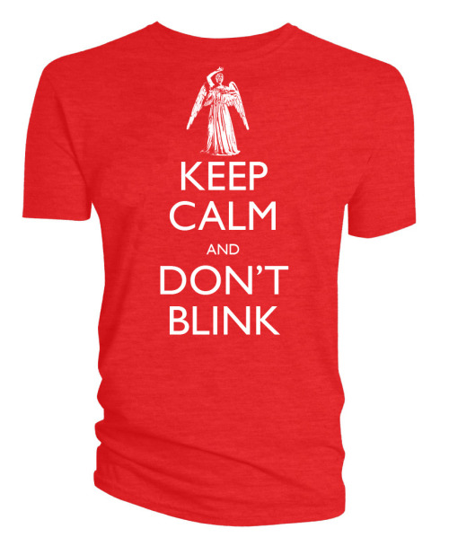 "doctorwho:  New 'Keep Calm and Don't Blink' t-shirt available at BBCAmericaShop.com This is kind of like the BEST THING to have on a t shirt! Let's say you're being attacked by a WEEPING ANGEL. If that which holds the image of an Angel becomes itself an Angel, they will STARE AT YOUR T-SHIRT and become QUANTUM LOCKED! ""BUT WHAT ABOUT THE ANGELS BEHIND YOU????"" you ask.  Well that's why we're buying TWO OF THESE SHIRTS and STAPLING THEM TO ONE ANOTHER BACK TO BACK into one giant FRANKENSHIRT! We just have to squeeze between them and fit it over our head! Or, even better, wear the Weeping Angel Frankenshirt with a friend and YOU'LL BOTH BE SAFE FOREVER!!!! It's GENIUS!!! Right???  (mebbye?) COOL UPDATE THING! GET 20% off everything at BBCAmericaShop.com!  Get 20% off everything!Enter promo Code FSO12 during checkout! Hurry offers expire Monday 10/1/2012.Offer not valid on previous purchases, exchanges or special offers. Cannot be combined with other BBC America Shop promotion codes.   I have one in blue…"
