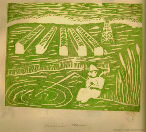 Woodblock print made in the Minidoka internment camp in Idaho by Marian Hara of Portland, Oregon, an art student of Fumi Haraguchi Kato at Hunt High School.