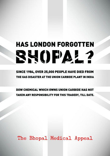 Has London Forgotten Bhopal?  Poster by Divya Thakur, artist from Mumbai.