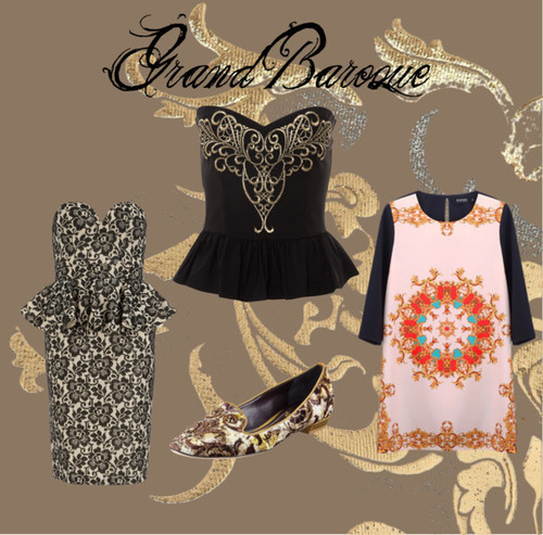 FAVORITE FALL TREND: GOING BAROQUE  The weather is finally starting to cool off bringing us one step closes to that fall closet that we've been yearning to wear since September started. The trends for this fall go on and on: leather in every color and form, lace appliques where ever they look fabulous, and classic military style. But by far my favorite fall trend and then one I cannot wait to find piece to fill my closet with is the Baroque trend. Inspired by art, Baroque style has literally made pieces of clothing a work of art. Gorgeous, exaggerated prints and deep, jewel-toned colors have us coveting this trend. Not sure where to start? Check out these links to take a look at the items above: Republic peplum top, Romwe shift dress, Dorothy Perkins peplum dress, and Rene Caovilla velvet loafers.