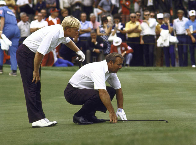 Jack Nicklaus and Arnold Palmer line up a putt during the 1971 Ryder Cup in St. Louis. The 2012 Ryder Cup is set to tee off from Medinah Country Club on Friday. (Rich Clarkson/SI) GALLERY: Classic Jack Nicklaus Photos | Arnold Palmer coversMORFIT: Previewing the 2012 Ryder Cup