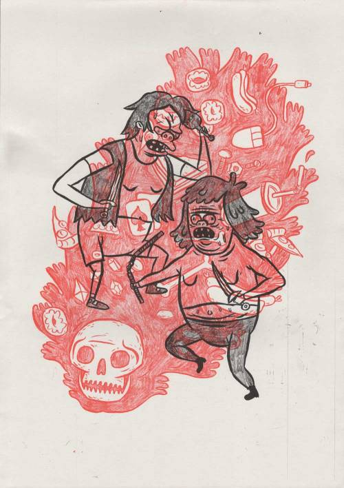 benjaminography:  Oh no bro…NELSON vs MUSCLE MANA Risograph I made on the fancy new FRUITCAKE PRESS ris-o-matic. It was really cool just pencilling/inking the layers out and copying it straight into the machine instead of running it through the computer.Did about 50 so will be selling them somewhere soon!