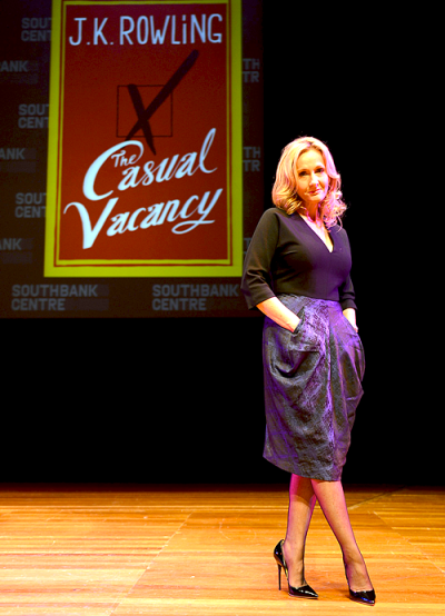ohne-dich:  J K Rowling launches 'The Casual Vacancy' (Sept 27 2012)  The publisher, Little Brown, did not format the digital copy of her book correctly so all the digital copies are messed up on the various devices. I'm curious how that has affected her initial sales. I'm looking forward to reading this book.