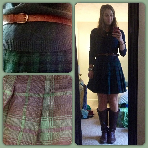 #plaid and #pleats! Navy v-neck sweater - #jcrew thrift, blue and green pleated skirt - #thrift, #melissabutton brown leather boots - #frye, brown belt - #forever21. #ootd #ootdmagazine #nofilter #wiwt #whatiwore #fall #autumn #fashiondiaries #secondhand  (Taken with Instagram)