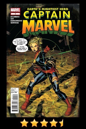 "Captain Marvel #4 Recommendation: ""YES!"" …We Call This Tuesday. Again, I am always excited the week this book comes out. I know it is going to be well written and have some amazing art. Are people still not liking Dexter Soy's art? Really? I certainly hope not. Because it is still some of the best art for a comic I have ever seen… I do realize it is a specific style, that is not for everyone, but still, people have to be accepting it at least by now. I know at some point we will have an artist switch, but until then I will enjoy every page of Dexter's art. The task will be passed to Emma Rios, so it is in good hands… Either way, I will miss Dexter, but I do love Emma's work as well. And though the artistic styles are very different, it shouldn't be too distracting. It is not like we haven't been switching mid book, anyway. We should be used to it! ;) Okay, on to the story… We are still in 1943 - We are still watching the battle of ""Some island off the coast of Peru"" - And we are still putting the pieces together on how Carol and her allied Banshee Squadron came to be in this predicament. This issue is a great mix of battle and plot reveal. As expected, the writing is smart and paced perfectly. And like every issue with Carol and the gang, you get a great sense of teamwork, honor and heroism. The banter between the women is great - it adds a lot of depth to the story overall. For this issue, like the last, there is a story shift. We are taken from the story set in 1943 and land back in the story set in 1961. It is well worth it though, as at the end of the issue, the timelines and the reason for last issue's introduction to this time period sync up nicely. I still would have loved to see more of the 1943 story, and Dexter's art, but such is life - and how the story goes… Oh, and while many questions are answered, a bunch more surface. The answer to ""What could have caused this?"" just got a lot more interesting… and a hell of a lot bigger! As always, I continue to look forward to where this arc is going. This is the kind of book you wish came out twice a month - but for now, we must wait until October 17th, 2012. In the mean time, here is some Issue #5 Preview Art by Emma Rios, to hold us over… —— Follow @thanosrules on Twitter for more thanosrules Quick Reviews (#trqr) and listen to Stacks of Comics (@stacksofcomics) for all (okay, some of) your Comic Podcast needs!"