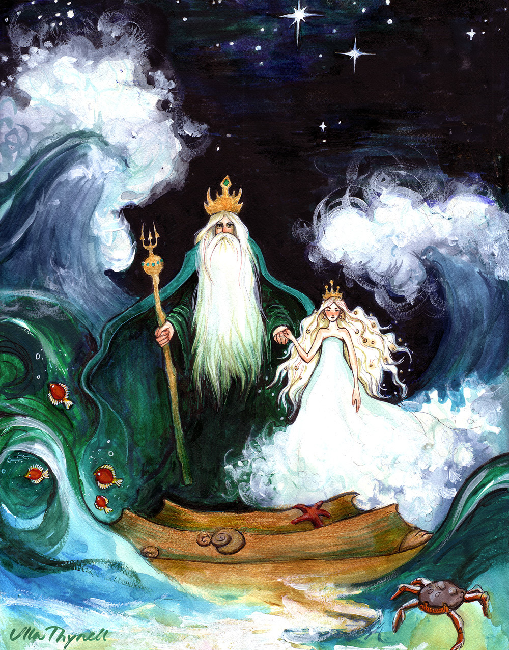 "fairytalemood:  ""The Sea King and His Daughter"" by Ulla Thynell"