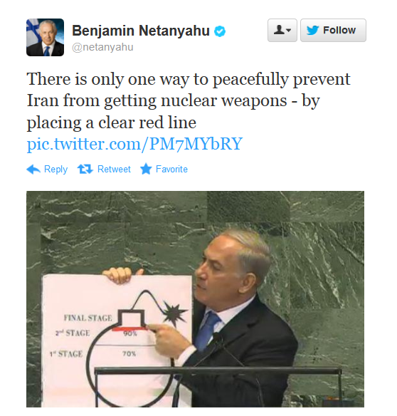 THIS ACTUALLY HAPPENED AT THE UN TODAY Evidently, according to Israel, not only is Iran the greatest enemy of freedom ever, it is also making cartoon bombs in its underground supervillain lair.