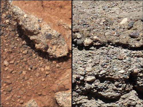 "NASA says photos taken by Curiosity provide ample evidence of an ""ancient streambed on Mars, similar to some on Earth."""