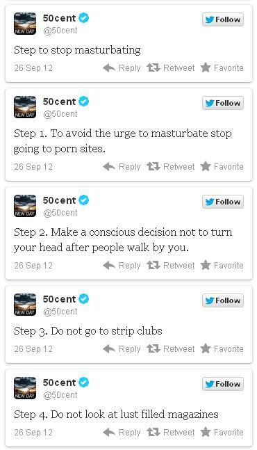 "collegehumor:  entertainmentweekly:  50 Cent's foolproof ""how to stop masturbating"" guide.  OKAY BUT HOW DO WE STOP IF WE'VE ALREADY STARTED?"