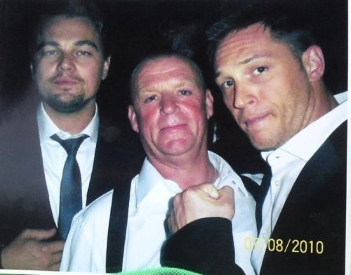 Leonardo DiCaprio, Mark Fish & Tom Hardy at the Inception premiere in London.  Courtesy of Mark Fish facebook page!
