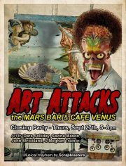Join us tonight at Cafe Venus/Mars Bar. Great Art By Dara Soliday and tunes by Scrapblasters!