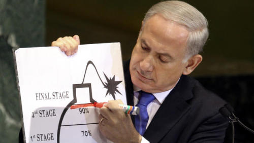 blakeau:  Pictured here is Netanyahu indicating the level of irony involved in his country warning that a nuclear-armed Iran would wage war on other countries in the Middle East.