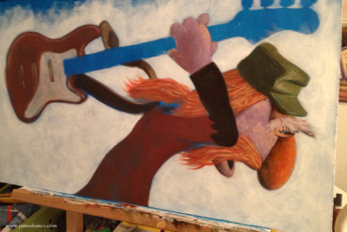 Latest Painting in Progress - 'Mr. Bass Man' Floyd is shaping up nicely! :) x  My site / My Facebook