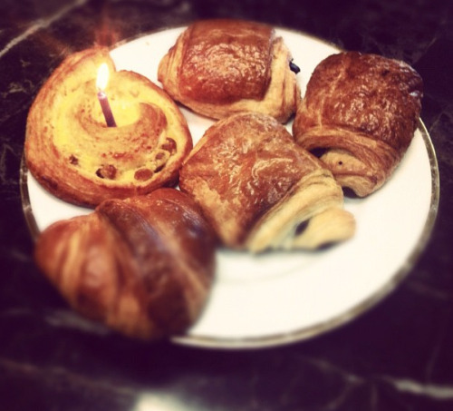 A coworker brought French pastries to work for my birthday :) I had a chocolate croissant.