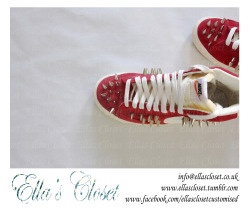 Red Spiked kicks, designed and customised by Ella's Closet. Order yours now!! www.facebook.com/ellasclosetcustomised info@ellascloset.co.uk