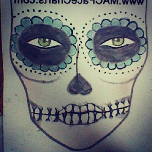 candecane:  Another draft for Sunday. #makeup #facechart #sugarskull #diadelosmuertos (Taken with Instagram)