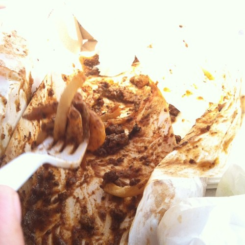 The aftermath of chili cheese fries from Capitol Burger (Taken with Instagram)