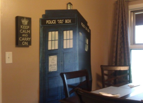 You know your a completely crazy Whovian when you have a TARDIS in your dining room…No, Really I do! Instead of eating by candlelight we eat by TARDIS! Love it!