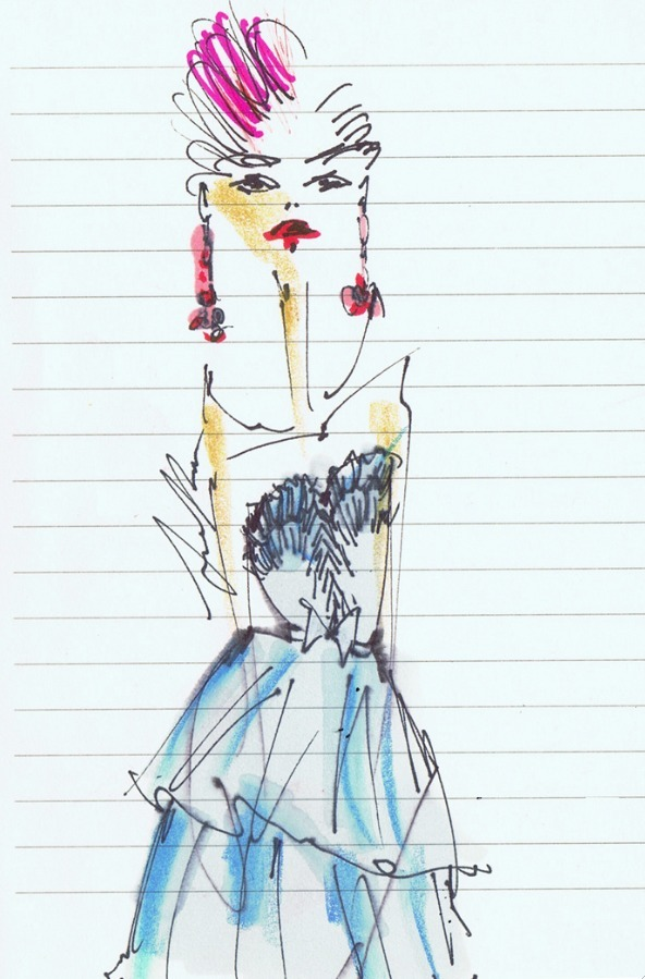lady 2.0 / illustrated live at our spring show by Jessica Repetto @jessicarepetto