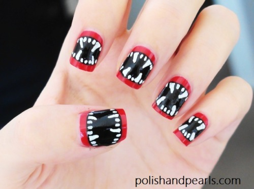 halloweencrafts: DIY Halloween Vampire Nail Art Video Tutorial from Polish and Pearls here.