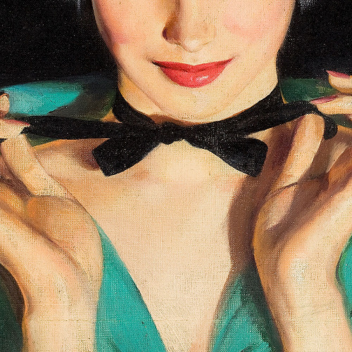 in-detail:  Walter M. Baumhofer, The Luck of Lily Cole (detail)