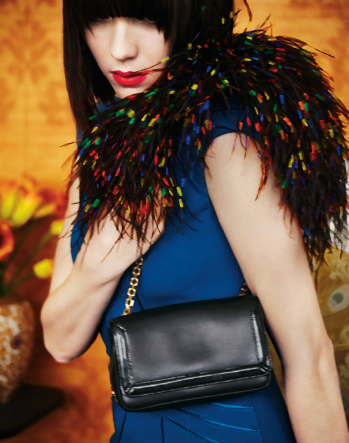 "Black calfskin ""Artemis"" shoulder bag with multicolor ostrich feathers, Christian Louboutin."