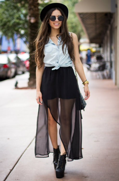 "what-do-i-wear:  Sheer skirt: c/o Furor Moda, Denim top: c/o Romwe, Sunglasses: c/o Furor Moda, Skull bracelet 1: c/o Furor Moda, Skull bracelet 2: c/o ShopBelina, Watch: Swatch, Hat: Forever 21, Shoes: Jeffrey Campbell ""Lita"" Bag: Vintage (image: nanysklozet)"